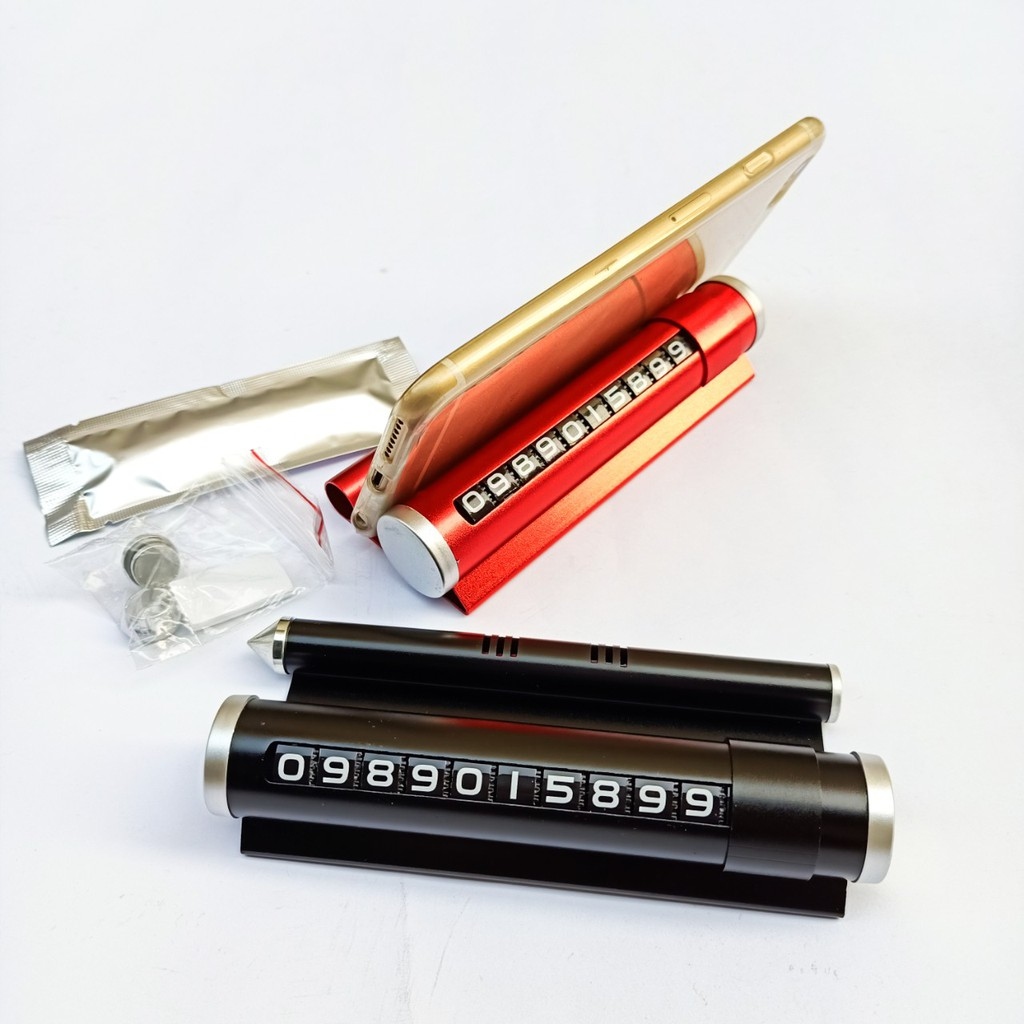 Gía đỡ điện thoại 3 in1 kiêm bảng số điện thoại và phá kính tặng kèm thanh sáp thơm dùng cho ô tô (Hàng loại 1)
