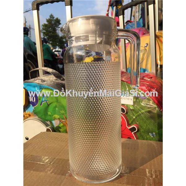 Bình thủy tinh tròn 1.1 lít kiểu chấm bi nhỏ, nắp nhựa màu trắng - Kt: (24.5 x 8.5 x 11.5) cm.