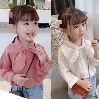 VD ❀Baby Girl Plain Bow-tie Turn-down Collar Base Shirt Children Fashion Clothes