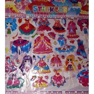 Tờ hình dán nổi 6 công chúa và tô màu loại lớn kích thước 22×30 cm