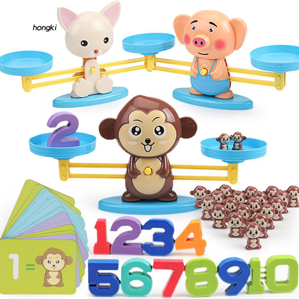 【HKM1】Cute Cartoon Animal Balance Scale Math Game Learning Children Educational Toy