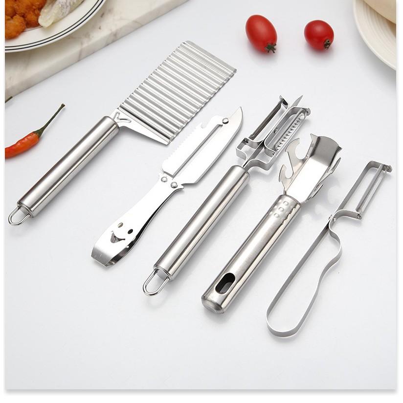 Dụng cụ nấu ăn nhà bếp SALE ️ Combo 5 dụng cụ nhà bếp tiện dụng Dao bào, dao nạo 2 lưỡi, dao cắt lát.. 9233