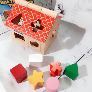 Bộ nhà gỗ thả khối cho bé
