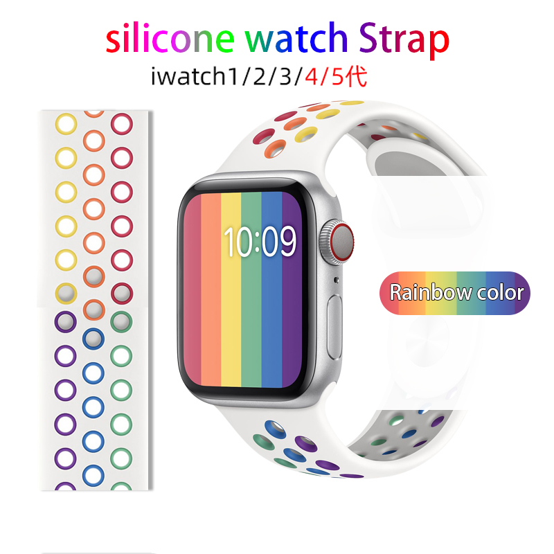 Rainbow Colorful Silicone Nike Strap for Apple Watch Series 38mm 40mm 42mm 44mm Bracelet Soft Sports Band for IWatch Series SE 6 5 4 3 2 Watchband