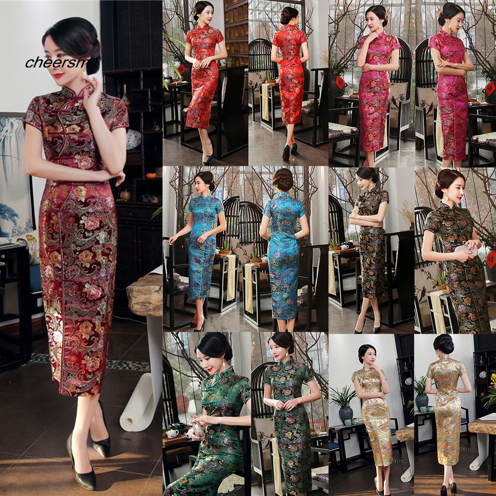 CHE♥Chinese Style Floral Stand Collar Short Sleeve Women Slim Cheongsam Dress