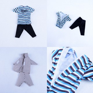 [BEW] 5 Sets Casual Suits Clothes Tops Pants For Boy Friend Ken Dolls [OL]