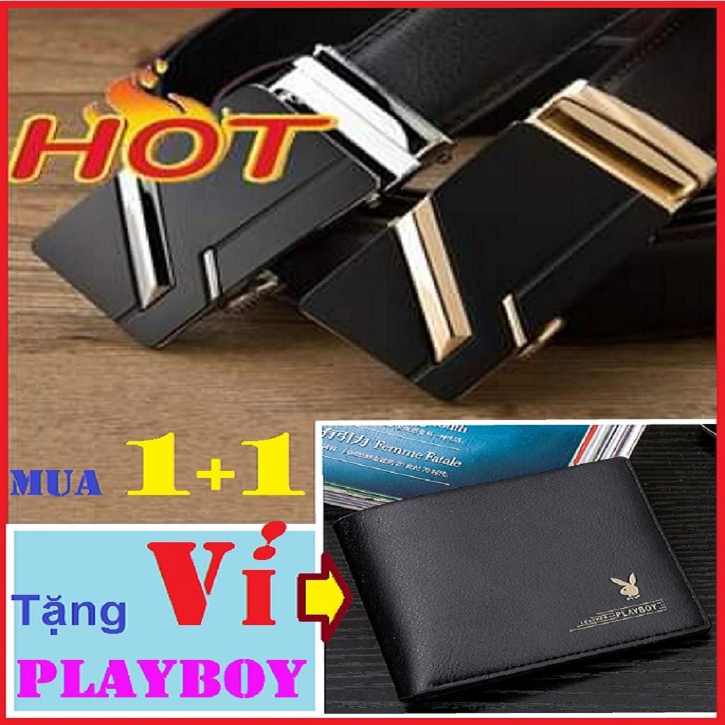Thắt Lưng Nam ĐẸP SiêU Cấp TLNF1 ( khóa vàng + bạc)+ Ví Nam Da Bò PLAYBOY- Dây Nịt Nam Da Bò Chính Hãng- tặng ví Playboy