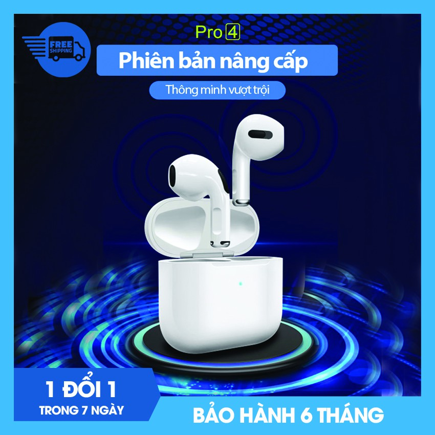 Tai nghe Bluetooth không dây Airpods Pro 4 tích hợp tất cả điện thoại Apple iPhone, Samsung, Oppo, Xiaomi, Sony, VSmart