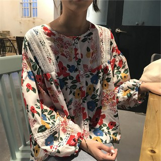 Áo Sơ Mi Tay Dài Phối Ren Hoa Phong Cách Vintage