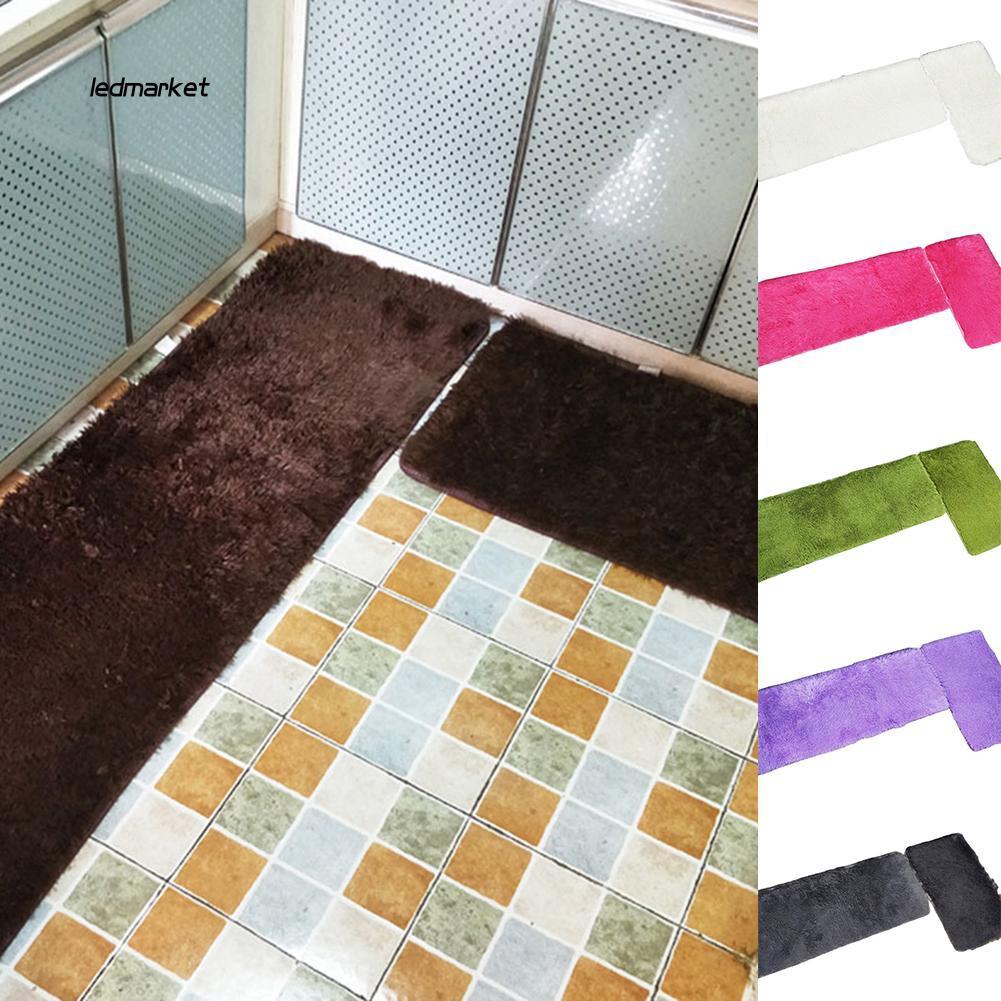 J_2Pcs Plush Home Kitchen Bathroom Anti-Slip Door Mat Floor Entrance Rug C