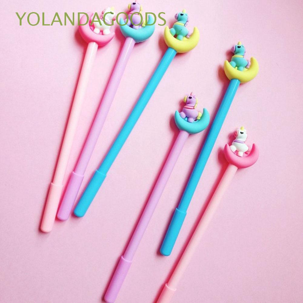 3 pcs/lot Signing Cartoon Stationery School Supplies Plastic Unicorn Gel Pen