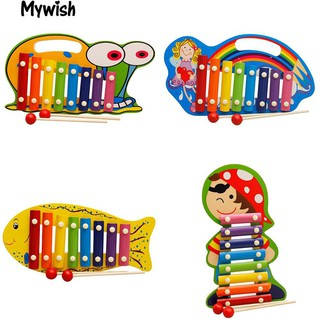 8 Keys Wooden Hand Knock Xylophone Musical Instrument with 2 Mallets Toy