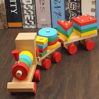 Đồ chơi đoàn tàu gỗ chở hình khối Montessori Smart Kidpi