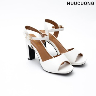 Giày Sandal Quai Ngang Nữ Cao Gót HUUCUONG Thời Trang Mũi Tròn Mix Nhiều Màu Basic - CG68