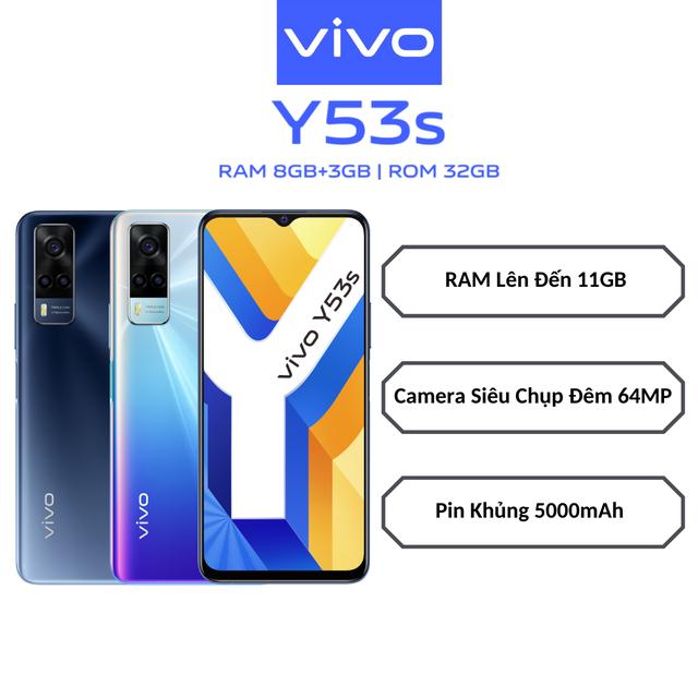 [Mã ELMALL1TR giảm 5% tối đa 1TR] Điện thoại Vivo Y53s 8GB + 128GB - Hàng chính