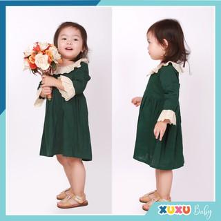 Váy Bé Gái 💕FREESHIP💕 Váy Linen Cho Bé Màu Xanh Rêu Phối Ren cổ Ren Tay