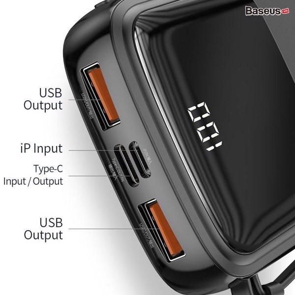 Pin sạc dự phòng tích hợp cáp sạc Baseus Q Pow Digital Display 10.000mAh (3A/15W, Fast Charge Power Bank With Cable) ❤