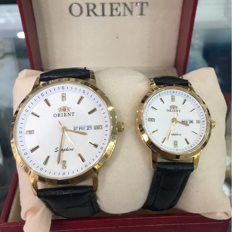 Đồng hồ đôi nam nữ orien dây da mặt trắng full box