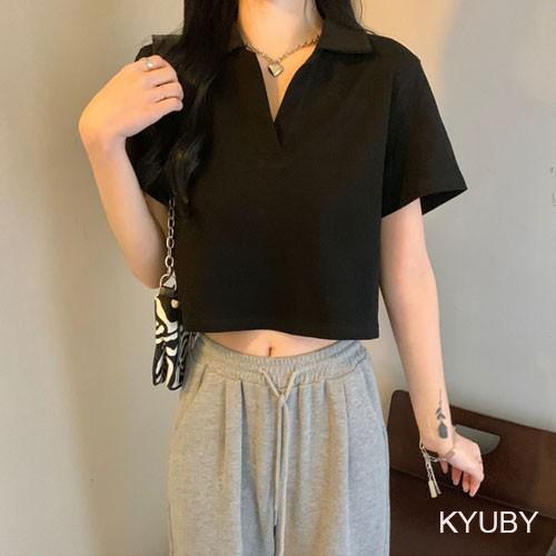 Mặc gì đẹp: Gợi cảm với Áo croptop nữ tay ngắn có cổ KYUBY Polo croptop chất cotton