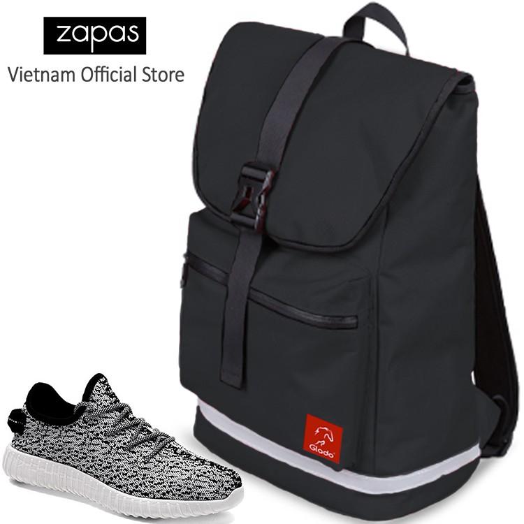 Combo Balo Du Lịch Glado Classical BLL005 (Đen) Và Giày Sneaker Thể Thao Zapas (Màu Trắng-Đen) - GS
