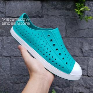 Giày nhựa siêu nhẹ nam nữ - Chất liệu nhựa xốp siêu nhẹ, không thấm nước - Màu xanh lơ viền trắng thumbnail