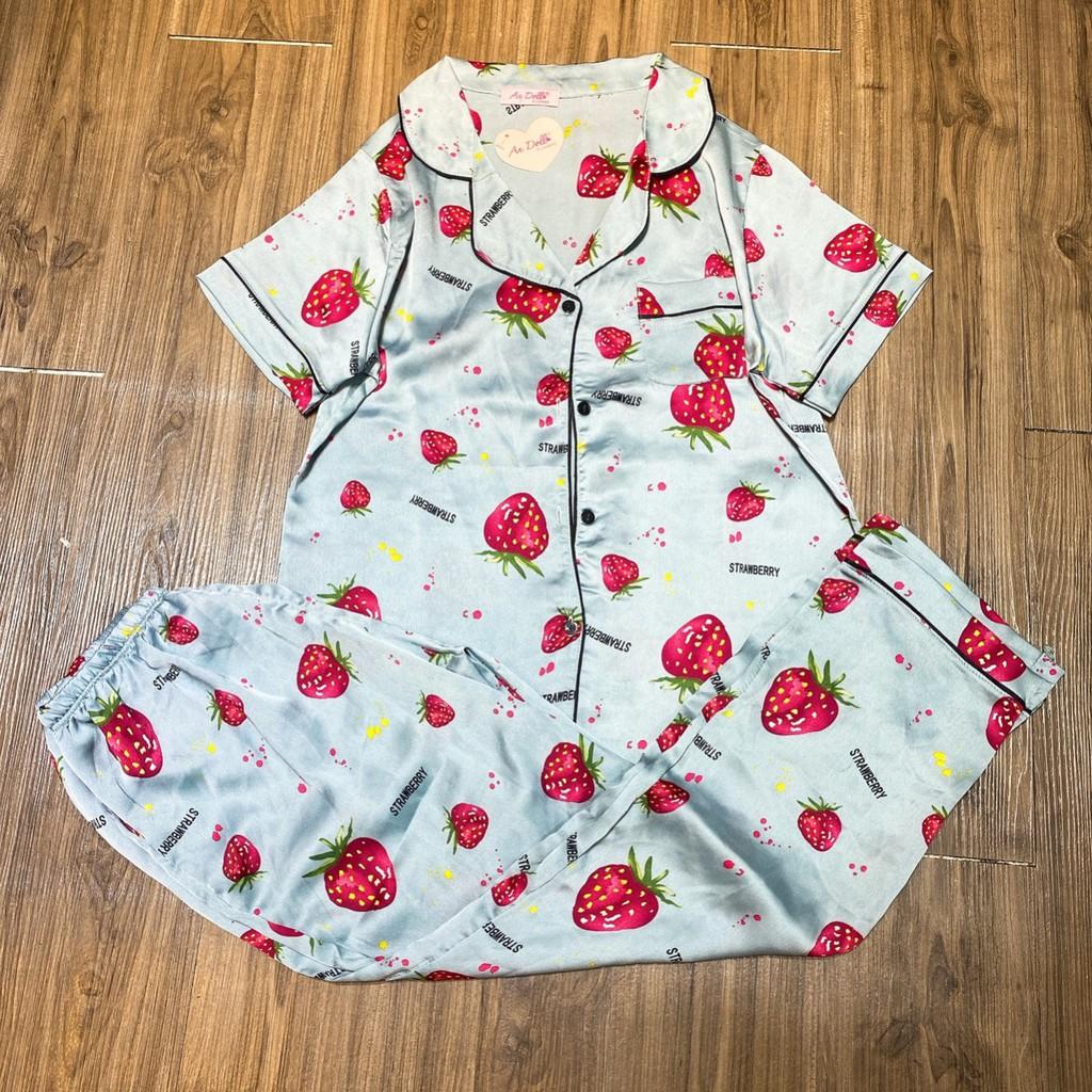 Đồ ngủ nữ pijama lụa satin cao cấp quần dài tay ngắn thay thế đồ bộ nữ mặc nhà rất thoải mái - Anquachi