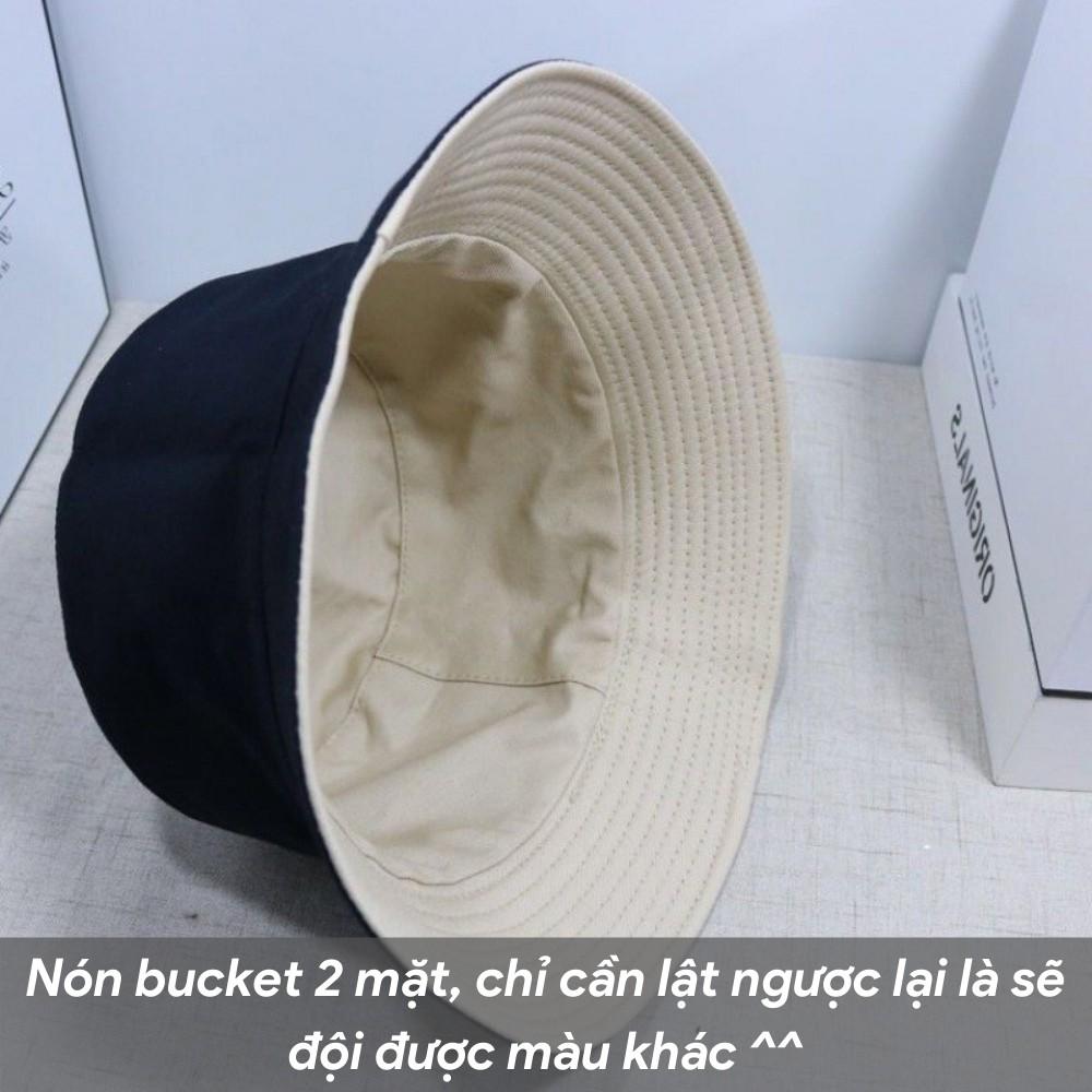 Mũ bucket trơn ️ Nón tai bèo vành tròn trơn 2 mặt Ulzzang form unisex nam nữ - BK02