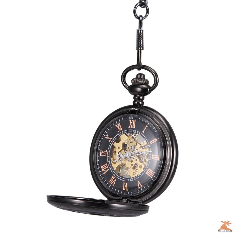 #Đồng hồ bỏ túi# Men Women Quartz Pocket Watch Black Hollow Petal Carved Case with Chain