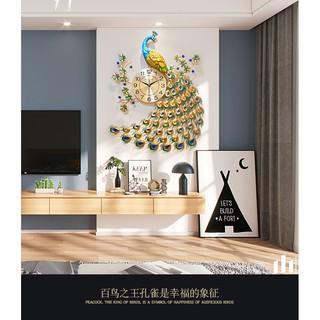 Đồng hồ trang trí chim công đậu cành mai WM88X (treo đứng) chính hãng JJT