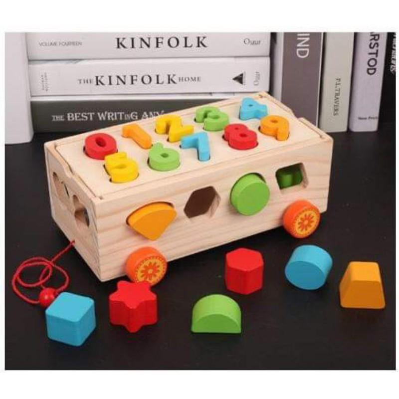 Xe ô tô thả hình khối / chữ số /đồ chơi gỗ / lego