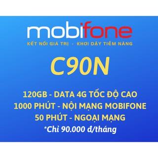 Sim 4G Mobifone C90N 120Gb – Miễn phí gọi. Đã sẵn 1 tháng