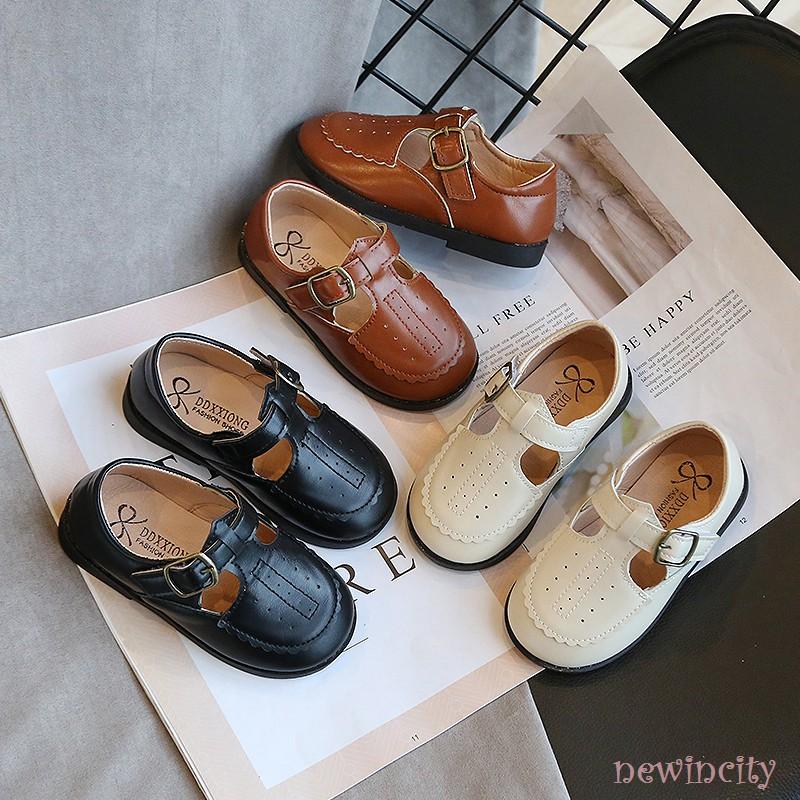 Giày da PU đế mềm phong cách Hàn Quốc dành cho bé gái