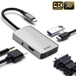Bộ Hub chuyển đổi đa năng Type C WIWU A513HVP 5 in 1 4K HDMI+ 3.5mm Jack+ PD + USB 3.0+ VGA cho laptop thumbnail