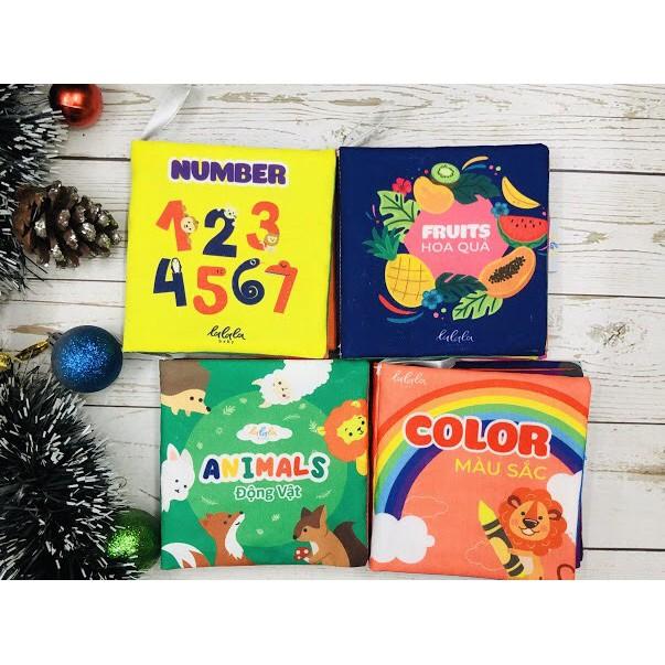 Combo 4 cuốn sách vải Lalala baby, kích thích đa giác quan, kích thước 12x12cm (Màu sắc, Số đếm, Động vật, Hoa quả)