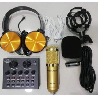 combo thu âm livestream 3 món Micro BM900-Card V8 tặng tai ốp bh 6 tháng