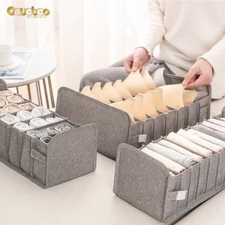 Onuobao Foldable Bar Storage Bag Cotton Underwear Storage Box for Women Home Grids Compartmental Bra Panties and Socks Organize Box