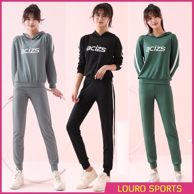 Bộ đồ thể thao nữ thu đông Louro SE36, sét quần áo thể dục, thể thao có mũ, có thể mặc tập gym, yoga, zumba