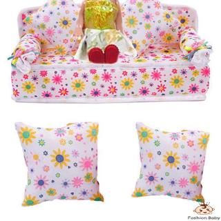✿BB-Fashion Mini Dollhouse Furniture Flower Soft Sofa Couch With 2 Cushions For Doll House Accessories