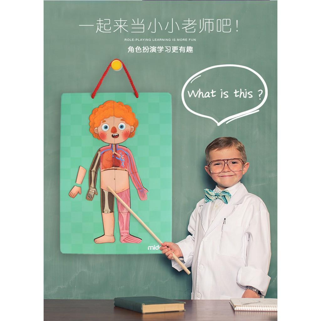 Mideer 3D Magnetic Human Body Puzzle Wooden (Bộ sản phẩm 84 pcs nhận thức cơ thể của bé hàng chính...