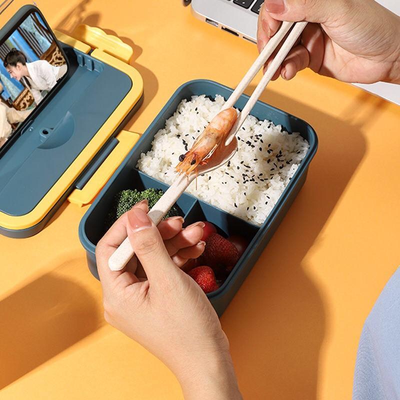 Hộp cơm giữ nhiệt 3 ngăn 1100ml giá rẻ phong cách Hàn Quốc (tặng kèm đũa thìa)