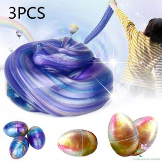 3 Pcs Crystal Slime Putty Toy Soft Egg Colorful Fluffy Slime Stress Relief Sludge Toys Jelly Mud