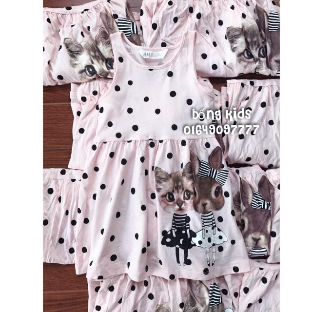Váy Bé Gái Mèo & Thỏ Hồng H&M