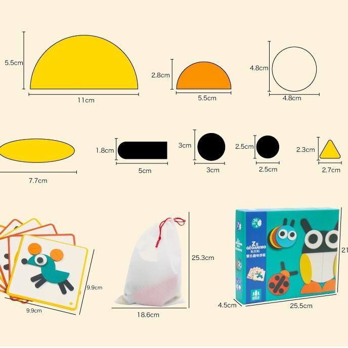 Đồ chơi bằng gỗ cho bé - Bộ xếp hình 3D mô hình động vật