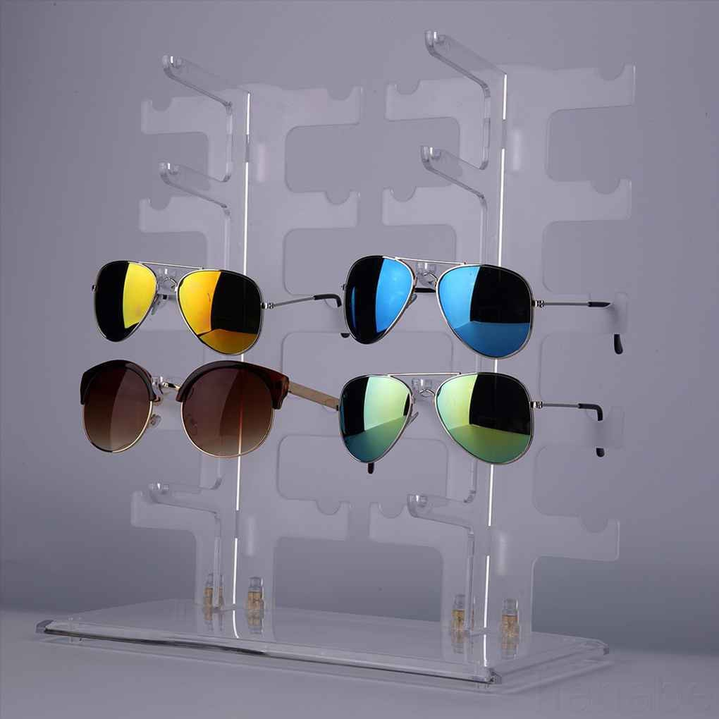 2 Row 10 Pairs Sunglasses Glasses Rack Holder Sunglasses Frame Display Stand Transparent Holder Glasses Shelf hanabe