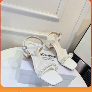 PAMELA - Giày Sandal Cao Gót Nữ 5p Quai Ngang Đính Ngọc Hàn Quốc Điệu Đà 2021 (5cm) - S25