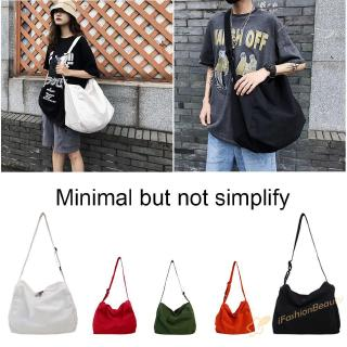 ~.~Canvas Large Capacity Pure Color Unisex Crossbody Bag