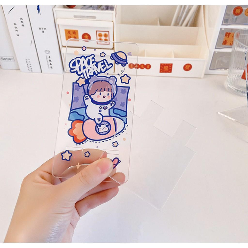 Giá đỡ điện thoại để bàn nhựa trong mẫu phi hành gia hoạt hình