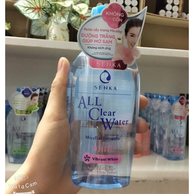 (100% CHÍNH HÃNG NHẬT)Nước Tẩy Trang Senka Micellar Dưỡng Trắng All Clear Water Micellar Formual White