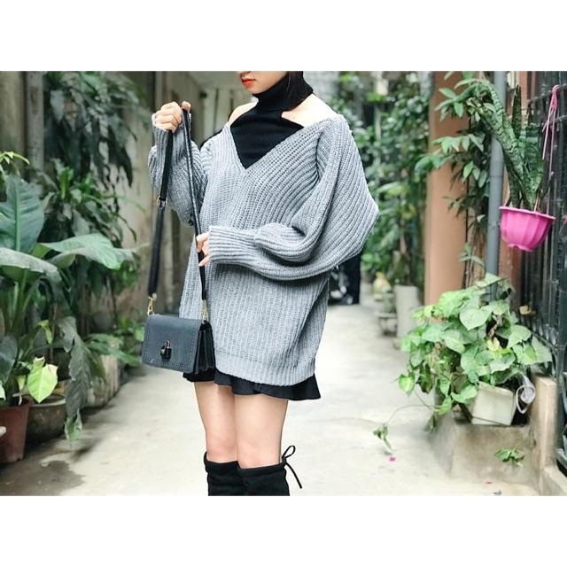 Váy len mix yếm cao cổ Hàn Quốc