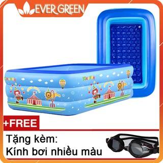 Bể bơi 3 tầng 1m8, tặng kèm kính bơi nhiều màu cho bé [Evergreen]